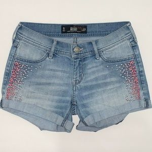Hollister Midi Jean Shorts Blue Denim Embroidery 5
